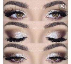 This eye makeup goes perfectly with the dress. The eyeshadow goes from silver to a darker brown/nude color. Because the eyeshadow is so vibrant, the fake long eyelashes can only complete the whole charming look.