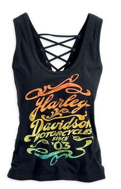 b644ee0559743 Harley-Davidson® Women s Black Laceback Tank 96193-14VW House Of Harley