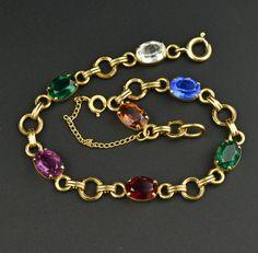 Vintage Tennis Bracelet w Simulated Gemstones  #Gold #Bracelet #Classic #intage #Vintage #Flower #Peruzzi #Charm #Coral #Czech