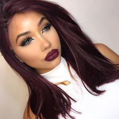 "Melly Sanchez on Instagram: ""Burgandy vibes ❤️ @uniwigs""  I like the color"