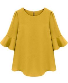 Yellow Ruffle Blouse 3/4 quarter sleeves