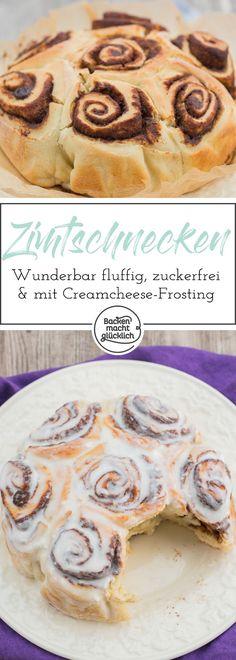 Ultimatives Rezept für süchtig machende, zuckerfreie Zimtschnecken! Die Kalorienarmen Zimtschnecken sind wunderbar fluffig!
