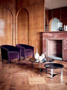Fendi Casa Contemporary - Sabrina armchairs and Tolomeo coffee tables www.luxurylivinggroup.com #Fendi #LuxuryLivingGroup