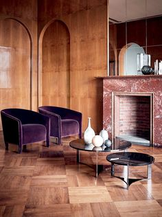 Fendi Casa Contemporary - Sabrina armchairs and Tolomeo coffee tables www.luxurylivinggroup.com #Fendi #LuxuryLivingGroup