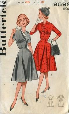 Butterick 9599 Retro 1950's Uncut Detailed Custom Dress 36