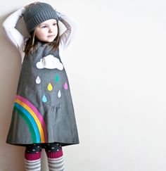 rainbow & silver cloud- little girls dress-grey corduroy age 6M to 6T- Wild Things Dresses, via Etsy.