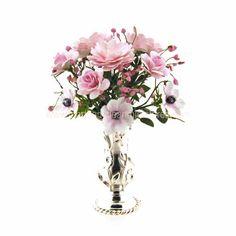 Martha Mclean Miniatures - international artisan dollhouse miniatures and handcrafted dollhouse flower arrangements. Mixed pinks.