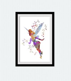 Peter Pan poster Thinker Bell watercolor art por ColorfulPrint