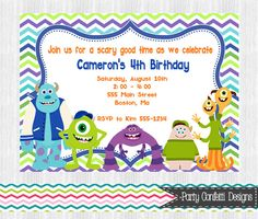 Monster University Birthday Party by PartyConfettiDesigns on Etsy, $8.00