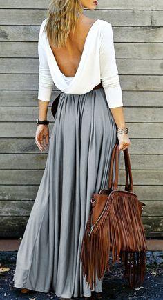 Long Sleeve Long Backless Flowy Club Dress
