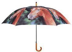 Een mooie paraplu met een afbeelding van een bruin paard van Esschert Design. Te koop bij www.robanjer.nl