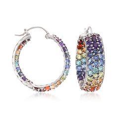 7.80 ct. t.w. Multi-Stone and Fire Opal Inside-Outside Hoop Earrings in Sterling Silver