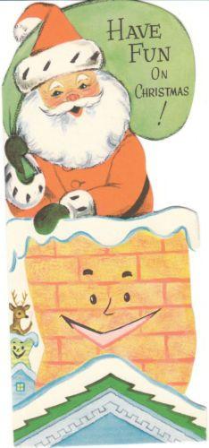 Santa in anthropomorphic chimney - vintage Christmas card