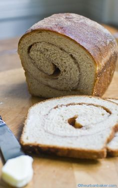 Cinnamon Swirl Bread from SoNo Baking Company Cookbook. I swapped the amounts for rye and wheat flour. Loved the cinnamon sugar on the crust. This recipe is similar to the original (I made the original)