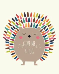 Andy Westface cute digi art cartoon illustrtation print rainbow hedgehog , give me a hug great wall art for contemporary scandi chic playroom or pin to cheer you up (Cool Art Prints) Grafik Design, Cute Illustration, Hedgehog Illustration, Cute Wallpapers, Vector Art, Give It To Me, Artsy, Throw Pillows, Art Prints
