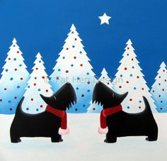 A Very Scottie Christmas - six pack of Scottie Scottish terrier Christmas cards from Fat Hen Design