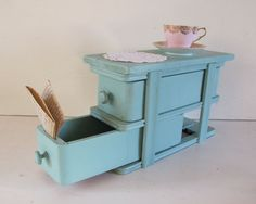 Antique Robin's Egg Blue Sewing Drawers by LittleKittenVintage, $45.00
