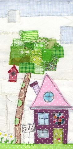 Love the patchwork scrappy tree! Freehand Machine Embroidery, Free Motion Embroidery, Free Machine Embroidery, Free Motion Quilting, House Quilt Block, House Quilts, Fabric Houses, Longarm Quilting, Quilting Projects