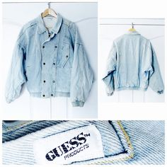 1a5b15948c Vintage 80 s 90 s Heavy Guess by Georges Marciano Acid Wash Denim Jean  bomber Jacket Coat Large