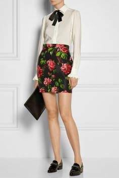 Floral-print skirt and white blouse