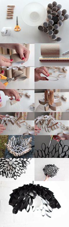 Lámpara reciclando tubos de cartón / Via tutsplus: