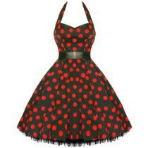 LADIES NEW RED POLKA DOT VTG 50S SWING PINUP PARTY PROM DRESS