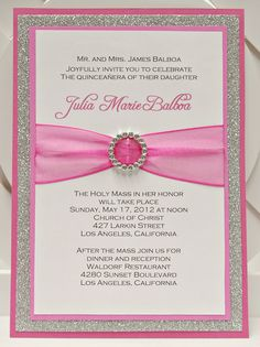 Custom Handmade Pink & Silver Glitter Sweet Sixteen (16) Quinceanera Invitations with Pocket
