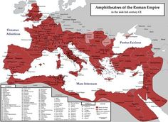 [Rome and it's Empire - Decline and Fall] The Roman Empire_Amphitheatres Ancient Rome, Ancient Greece, Ancient History, Ancient Map, Roman Empire Map, Roman Republic, Empire Romain, Templer, Roman History
