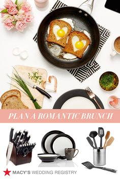 Hey, soon-to-be-newlyweds! Don't forget to fill your Macy's Registry with some Sunday brunch essentials. With the right tools, it'll be easy to turn an ordinary meal into something romantic. Add things like Calphalon pans, heart-shaped cookie cutters, chef knives and more to your registry on macys.com now!