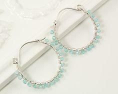 Apatite earrings, aqua stone beaded hoop earrings by BellesBijouxDesigns, $48.00