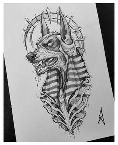 Tattoo Design Drawings, Tattoo Sketches, Tattoo Designs, Egypt Tattoo Design, Anubis Tattoo, Arm Tattoo, Body Art Tattoos, Sleeve Tattoos, Hamsa Tattoo