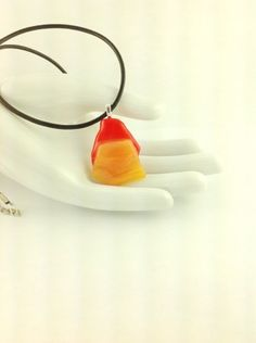 Fused Glass Shades of Orange Art Pendant on A  Leather Cord Necklace      Hand Crafted Jewelry