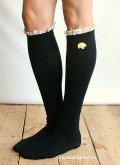 Lacey Fan IOWA HAWKEYES Boot Socks cable knit boot sock with lace and school logo - Collegiate boot socks (Item no.12-6). $35.00, via Etsy.