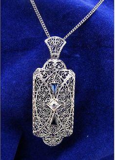 Large Art White Gold Mine Cut Diamond, Convertible Filigree Pin Pendant, this says it is Art Deco, but it looks more like Art Nouveau to me 1920s Jewelry, Edwardian Jewelry, Bling Jewelry, Jewelry Art, Antique Jewelry, Vintage Jewelry, Jewelry Design, 1920s Art Deco, Art Nouveau Jewelry