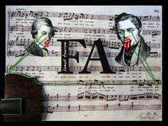 """FA (Famuli tuarum)  Collage y óleo sobre tabla intervenida con impresión digital y sección de Violín.  30x40  Obra de la serie """"7 notas"""" del proyecto SEPTIES SEPTEM. http://septiesseptem.blogspot.com.es/"""