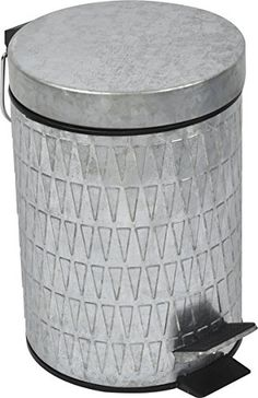 Retro Galvanized Metal Round Toilet Step Trash Can Top Vintage Style
