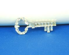 Vintage B. David White Glass Key Brooch