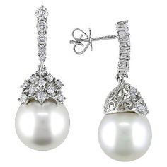 10-11mm White South Sea Pearl and 1 CT. T.W. Diamond Drop Earrings in 14K White Gold (GHI SI)