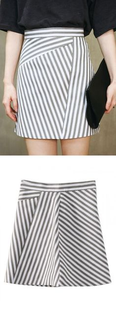 Color Block Stripe Print High Waist A-line Skirt-CHOIES