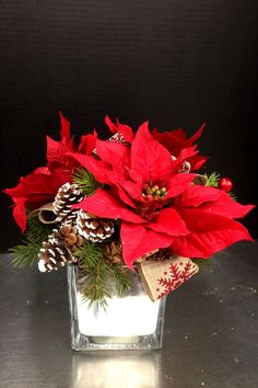 simple 3 poinsettia centerpiece