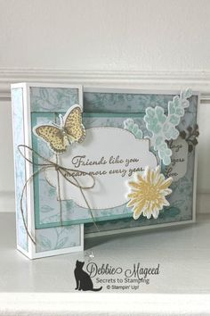 Learn how to make this card and more! ONLINE SHOPPING for Stampin' Up! Source by couleurfleur Fun Fold Cards, Folded Cards, Friendship Cards, Beautiful Handmade Cards, Small Cards, Paper Cards, 3d Cards, Mothers Day Cards, Cards For Friends