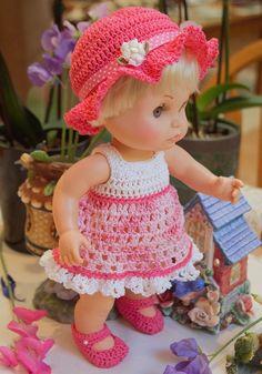 Crochet outfit for 13 inch Galoob Bath Tub Baby Face Doll 5 piece Dress Set Thread Sun Dress