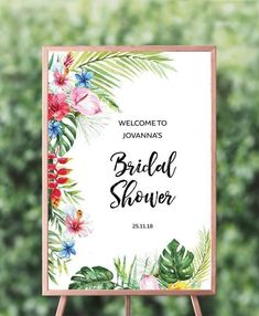 Wedding Themes This tropical bridal shower welcome sign is a DIY editable template and is easy and affordable. Design is comprised of modern calligraphy and a variety of banana leaves, palm leaf Bridal Shower Welcome Sign, Bridal Shower Signs, Destination Wedding Themes, Wedding Venues, Wedding Reception, Wedding Planning, Top Wedding Trends, Wedding Ideas, Diy Wedding