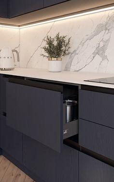 Modern Kitchen Interiors, Luxury Kitchen Design, Kitchen Room Design, Home Room Design, Kitchen Cabinet Design, Kitchen Layout, Home Decor Kitchen, Interior Design Kitchen, House Design