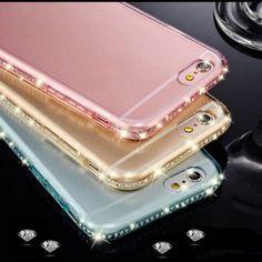 Rhinestones Pink iPhone case cover New Classic Transparent Rhinestone Diamond Soft TPU Bling Case Cover For iPhone. Color is pink.  6 or 6 plus Accessories Phone Cases