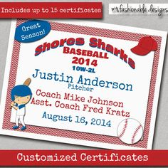 Fashionable Moms: Baseball certificates from Etsy
