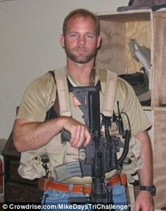 Former Navy SEAL Mike Day, who was shot 27 times during a gunfight in Iraq, is now training to run a half-Ironman triathlon in honor of his fellow veterans. Mike you are awesome! Half Ironman, Us Navy Seals, My Champion, Military Men, Military Veterans, Military Uniforms, Fight For Us, Support Our Troops, American Soldiers