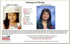 2/4/2013: NEW Age Enhanced Photo Released Today: It's been 10 years since 4-year-old Sofia Juarez... pinned with Pinvolve