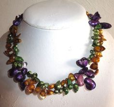 """VINTAGE ESTATE TENG YUE 16"""" DOUBLE STRAND MULTI COLOR PEARLIZED BEADED NECKLACE"""
