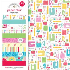 """Doodlebug - Doodlebug Paper Plus Value Pack 12"""" x 12"""" - Girl"""